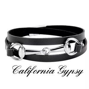 Western silver horse bit bracelet